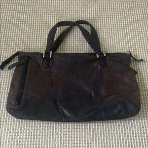 Gorgeous black Italian leather satchel bag soft!